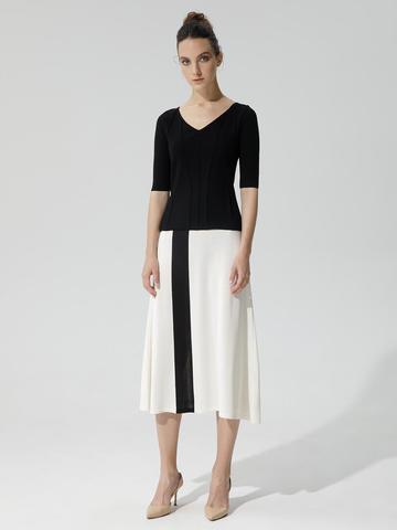 Женская юбка молочного цвета с контрастной полосой из шелка и вискозы - фото 2