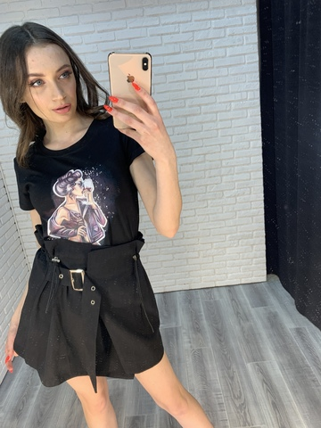 черная юбка с завышенной талией оптом