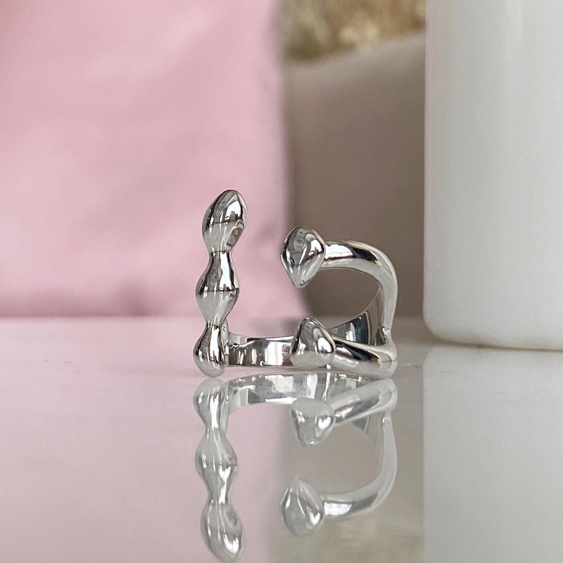 Кольцо Капли разомкнутое free size (серебристый)