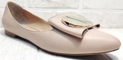 Остроносые балетки туфли лодочки бежевые Wollen G192-878-322 Light Pink.
