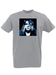 Футболка с принтом Курт Кобейн, Нирвана (Nirvana, Kurt Cobain) серая 002