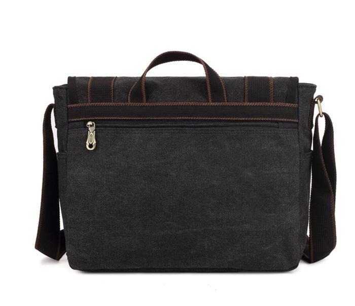 BAG390-1 Удобный мужской портфель из ткани черного цвета с ремнем на плечо (вмещает А4) фото 04