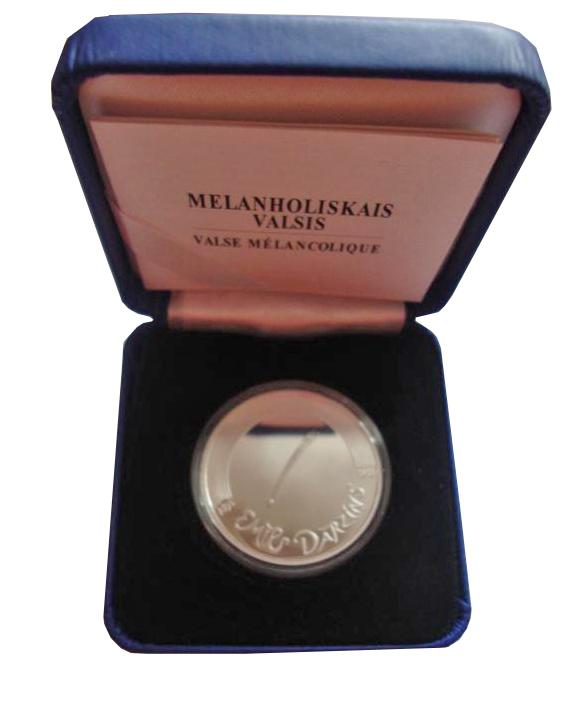 5 евро 2015 год Эмилс Дарзиньш. Латвия. Серебро
