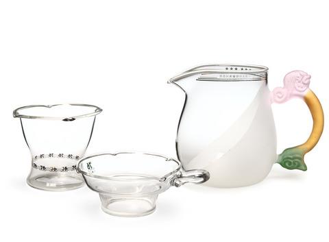 Набор из жаропрочного стекла для заваривания чая «Лето» с матовыми вставками большой. Интернет магазин чая