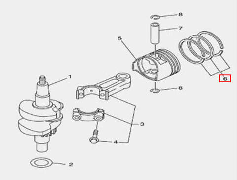 Кольцо поршневое для лодочного мотора F5 Sea-PRO(3-6-2)