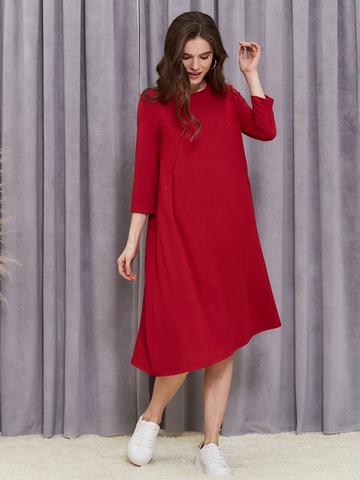 Платье Мира с секретами для кормления Красное