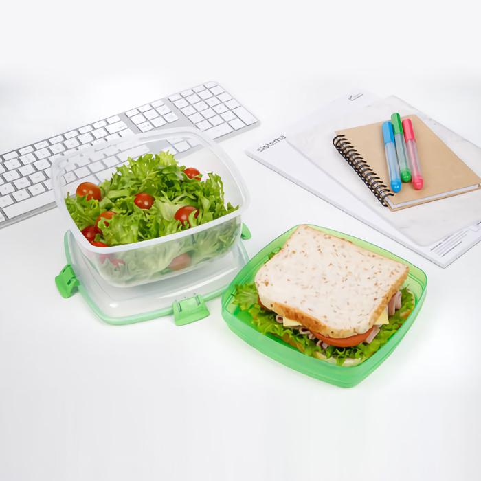 """Контейнер для салата и сэндвичей Sistema """"TO GO"""" 1,63 л, цвет Зеленый"""