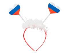 Ободок флажки-сердечки триколор