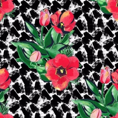 Тюльпаны. Красное на черном