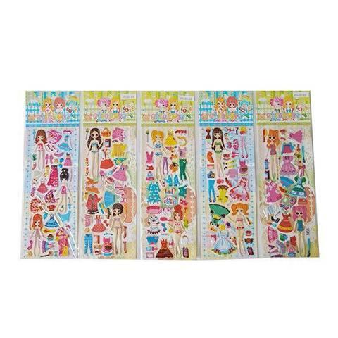 Набор наклеек для девочки (25х10 см) в ассортименте (в пакете), 47889