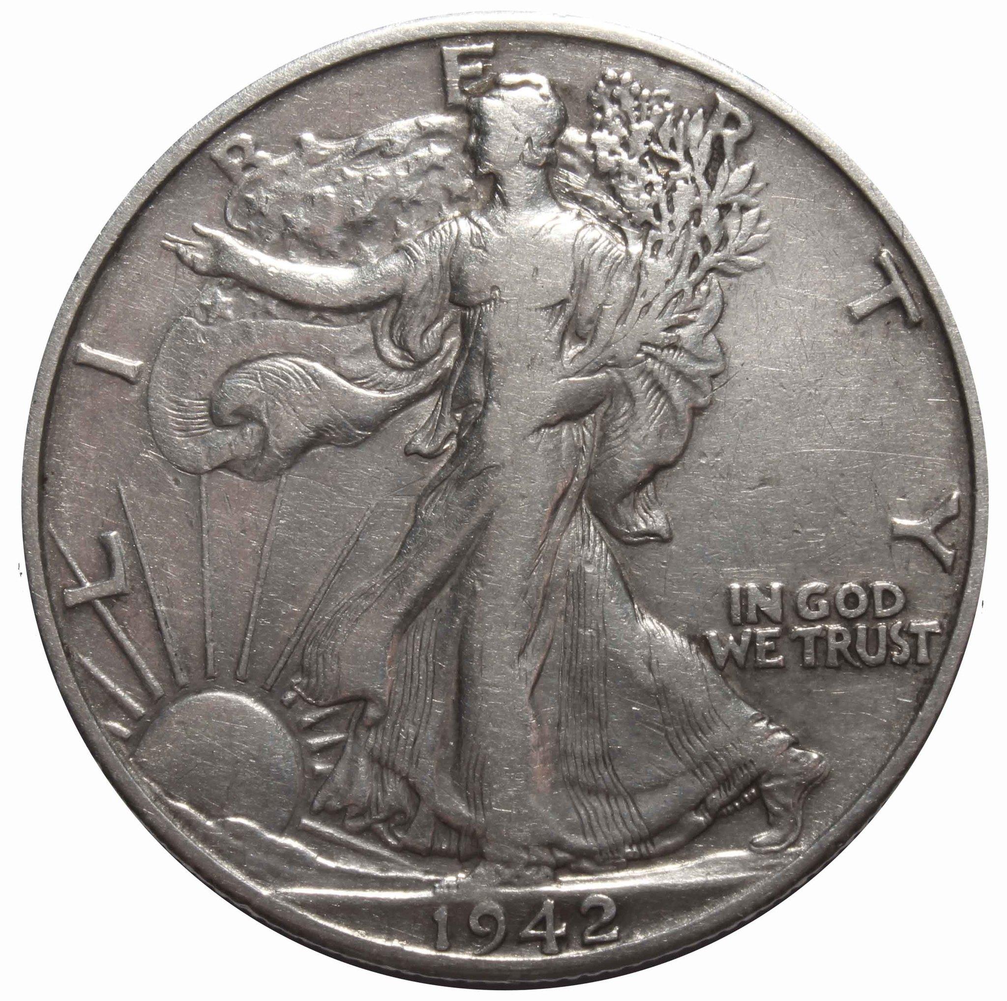 1/2 доллара 1942. (D) США (Шагающая Cвобода). VF