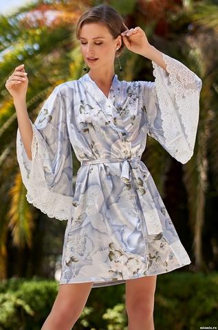 Короткий халат из шелка Novella (70% шелк)
