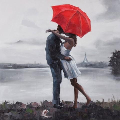 Алмазная Мозаика 40x50 Поцелуй под красным зонтом на берегу реки