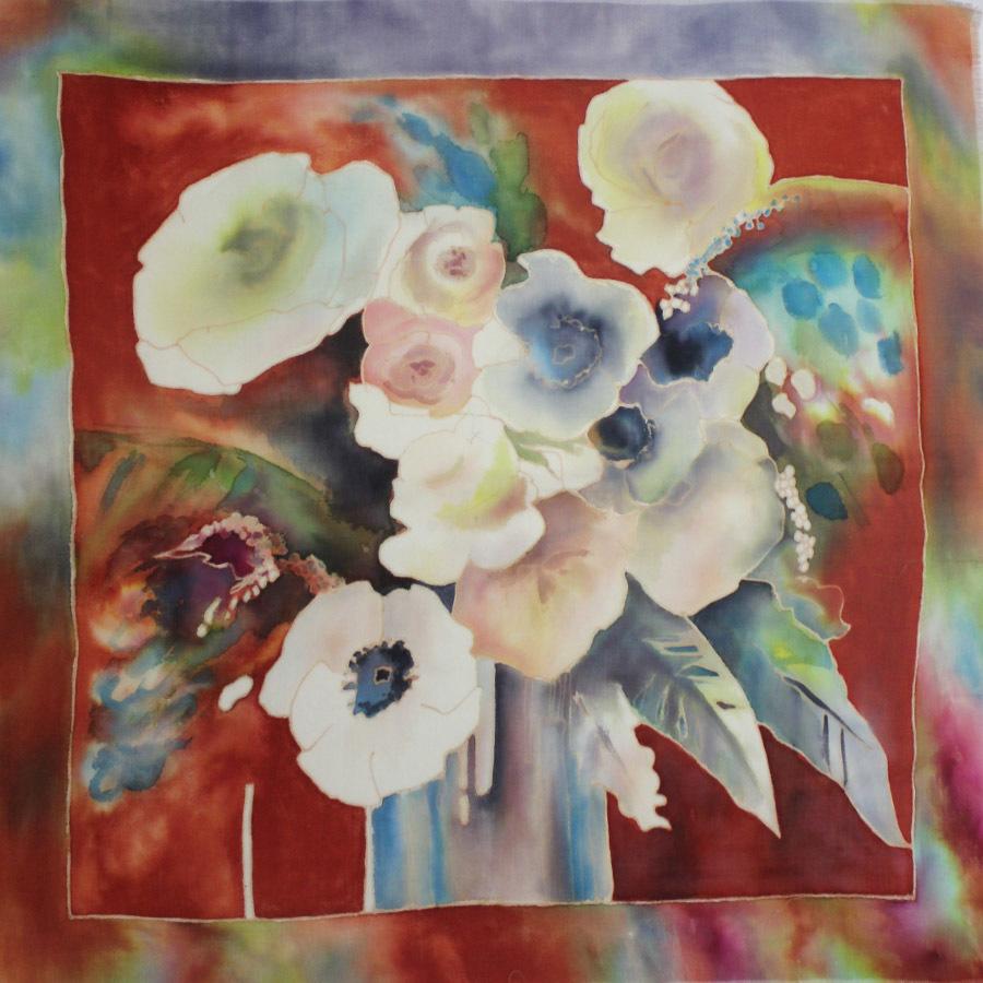 Шерстяной платок батик Весна С-60-sh