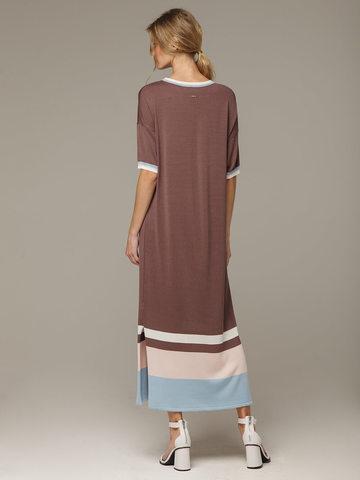 Платье в кофейном цвете прямого силуэта из шелка с вискозой, легкое и струящееся - фото 2