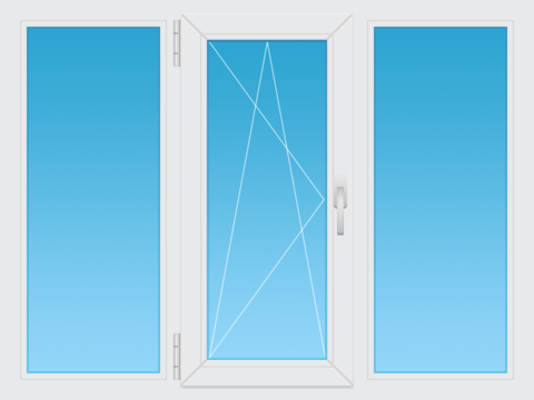 Пластиковое окно 2100х1400 двухкамерное  поворотно-откидное