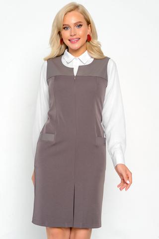 <p>Элегантный сарафан, идеален для работы и ведения офисных дел. Отлично сочетается с блузками и водолазками. По переду замок до талии. Функциональные карманы.Длина изделия все размеры 95см.</p>