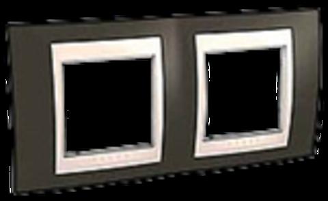 Рамка на 2 поста. Цвет Какао/Бежевый. Schneider electric Unica Хамелеон. MGU6.004.571