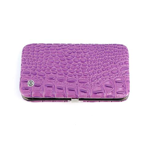 Маникюрный набор GD, 7 предметов, цвет фиолетовый, кожаный футляр
