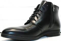 Мужские зимние классические ботинки на шнурках и на молнии Ikoc 3640-1 Black Leather.