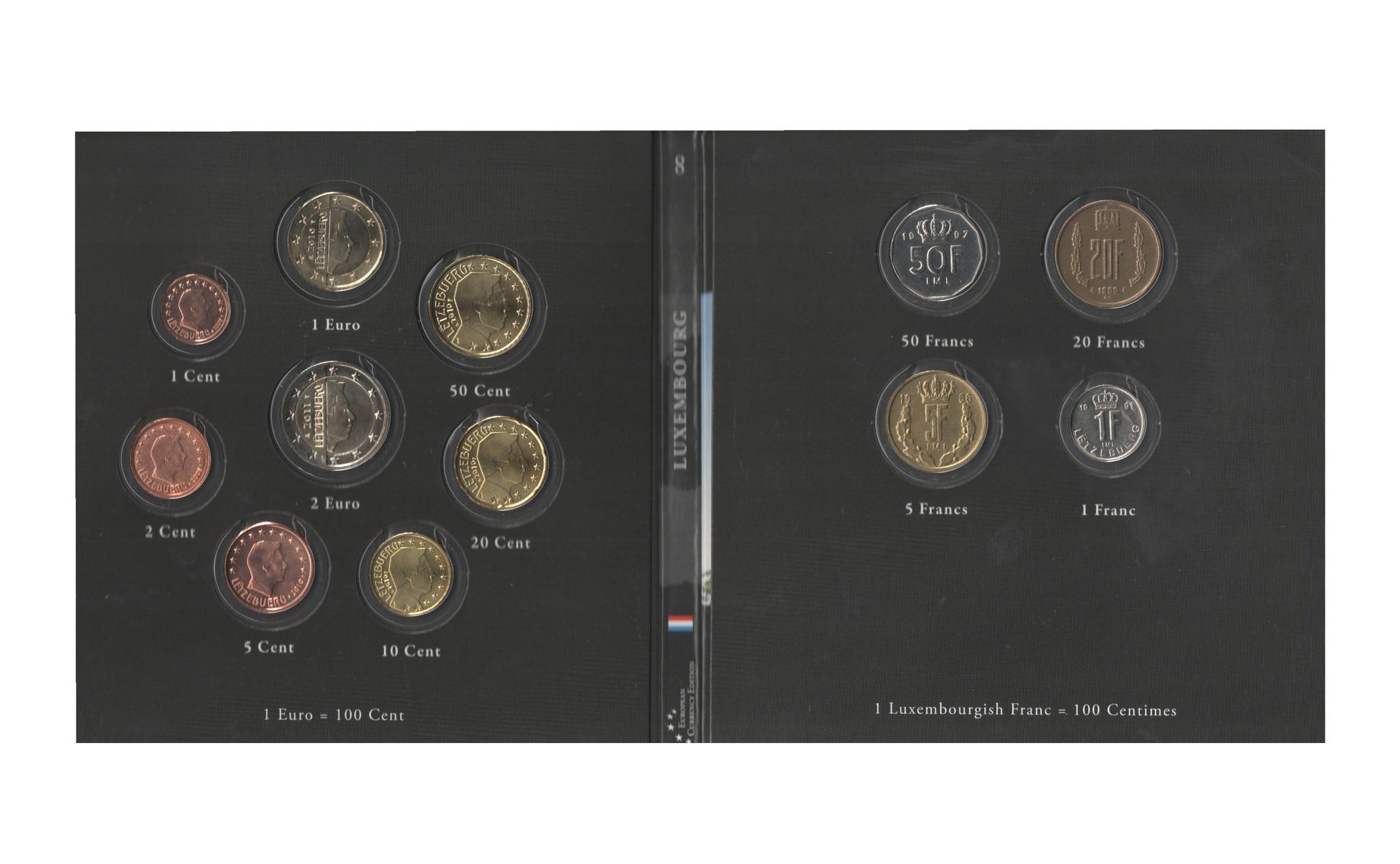 Набор монет 20 лет Евросоюзу. Люксембург