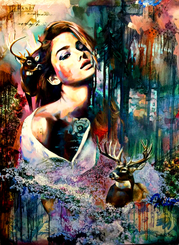 Алмазная Мозаика 40x50 Девушка и олени
