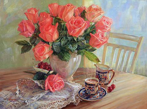 Алмазная Мозаика 20x30 Букет роз и чашечка кофе