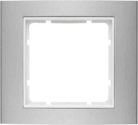 Рамка на 1 пост алюминий. Цвет Алюминий/полярная белизна. Berker (Беркер). B.3. 10113904