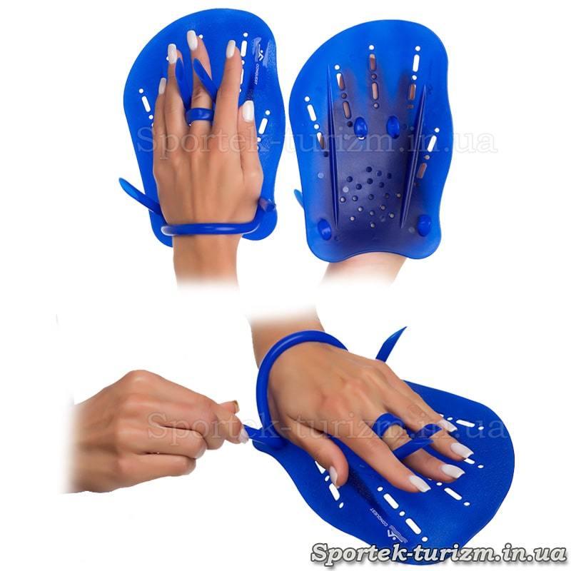 Лопатки для плавання на гумках HF6936 на руці