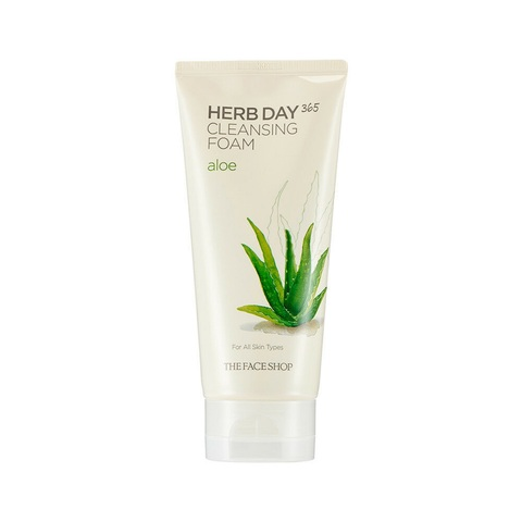 The Face Shop Herb Day 365 Cleansing Foam Aloe пенка с алоэ с увлажняющим и заживляющим действием