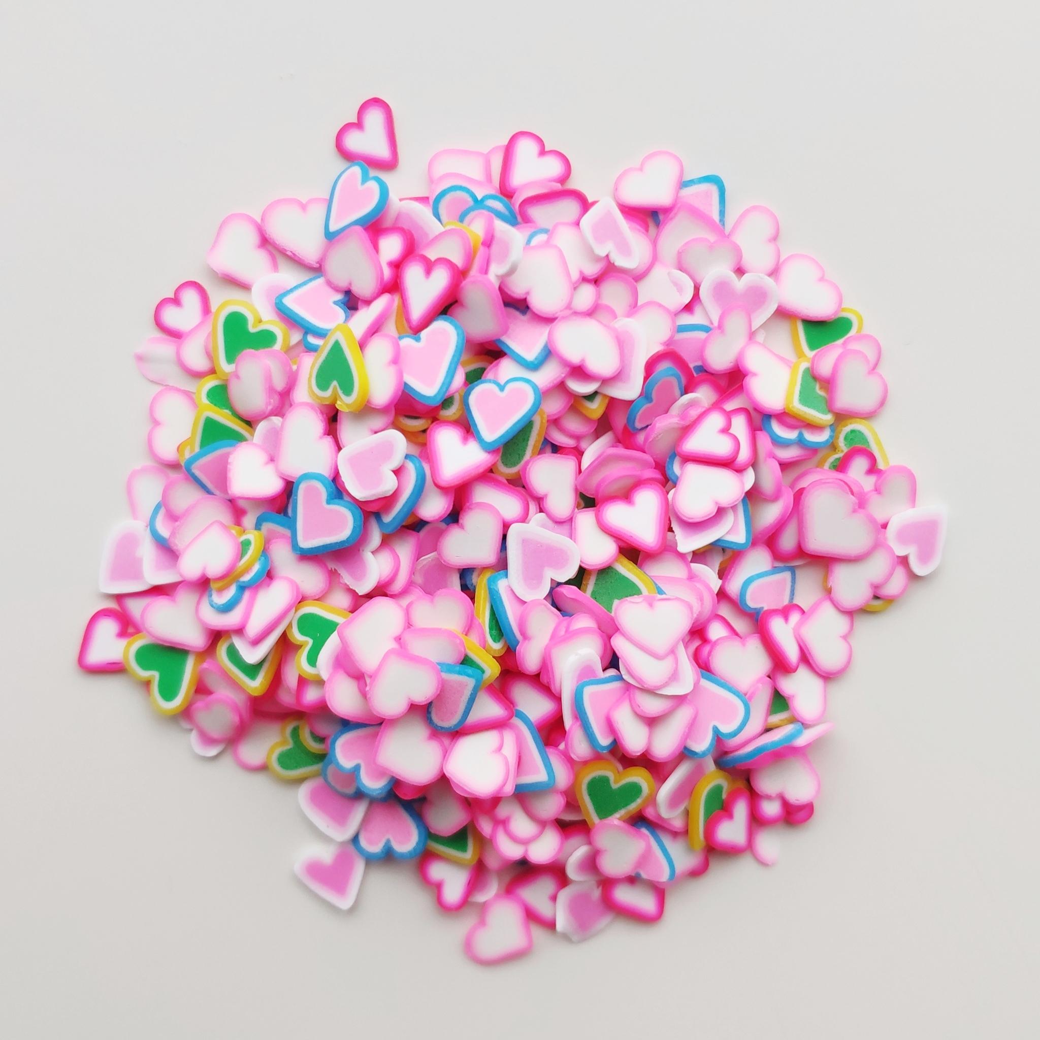 Посыпка фимо для слайма сердечки розовый микс 30 мл