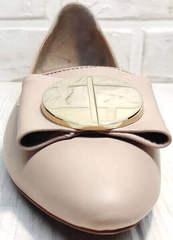 Модные балетки туфли бежевые Wollen G192-878-322 Light Pink.