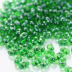 56120 Бисер Preciosa Фарфаль (Farfalle) 4х2 мм прозрачный блестящий зеленый