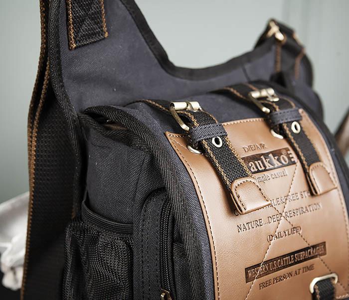 BAG307-1 Мужская сумка черного цвета из текстиля отличного качества фото 04