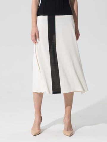 Женская юбка молочного цвета с контрастной полосой из шелка и вискозы - фото 4