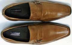 Мужские модные туфли с квадратным носом Mariner 12211 Light Brown.