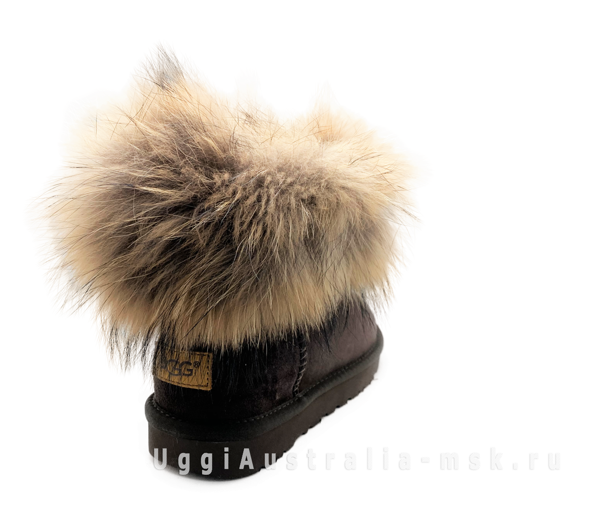 UGG Fox Fur Mini Chocolate