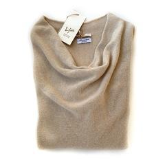 Пуловер с глубоким вырезом (Песочный)