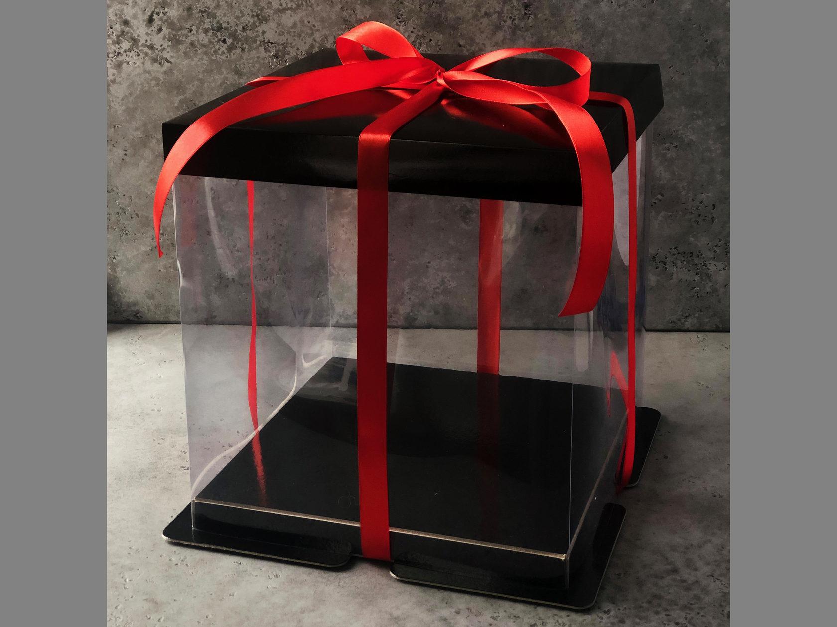 Коробка для торта прозрачная 26х26х28 см, ЧЕРНАЯ