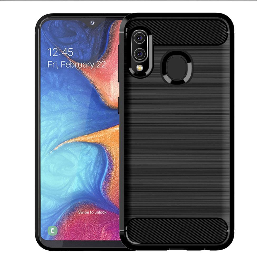 Чехол Samsung Galaxy A20 (Galaxy A30, M10S) цвет Black (черный), серия Carbon, Caseport
