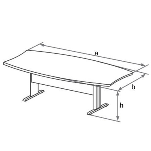 Конференц-стол на Т-образном металлическом каркасе БОСТОН
