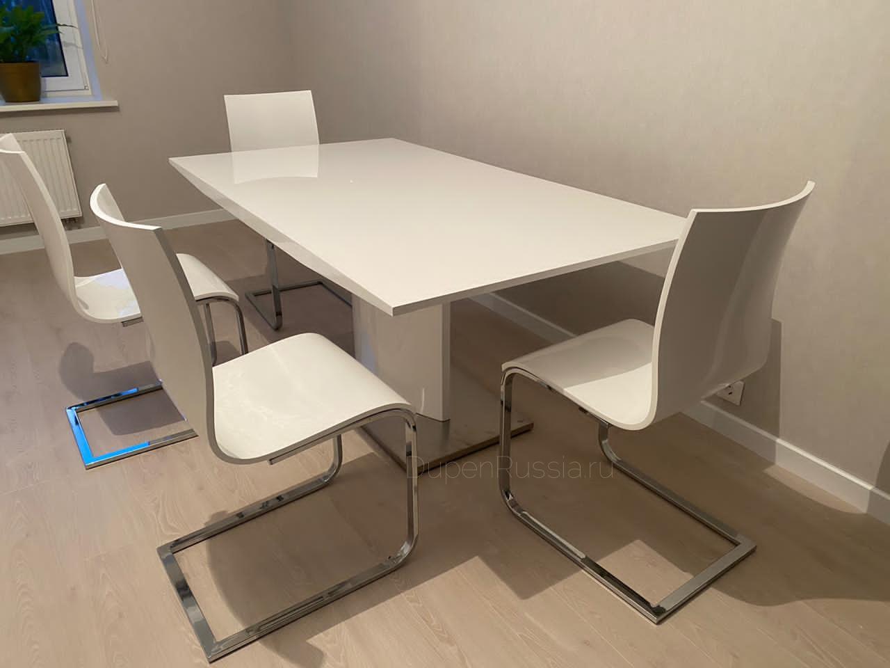 Обеденный стол DUPEN (Дюпен) DT-01 белый и стулья СН-1003