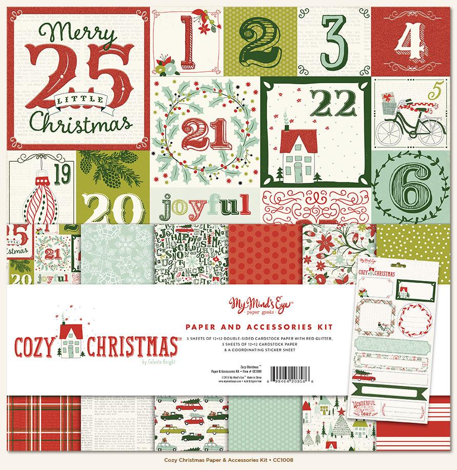 Кит набор бумаги 30х30 см. Cozy Christmas