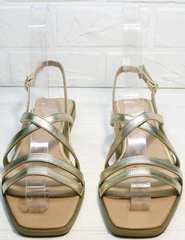 Блестящие сандали босоножки с квадратным носом Wollen M.20237D ZS Gold.