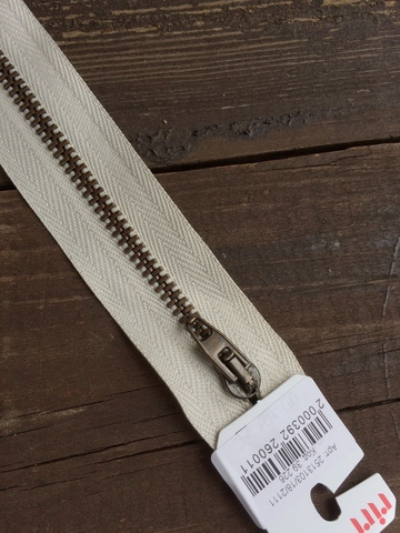 Молния джинсовая №4, Riri, 18см, бело-бежевый
