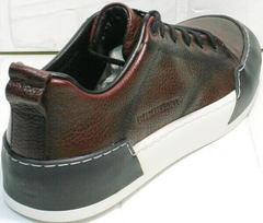 Осенние кожаные кроссовки сникерсы мужские Luciano Bellini C6401 MC Bordo.