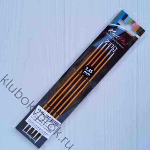 Спицы чулочные Knit Pro Zing алюминий  15 см, № 2,25