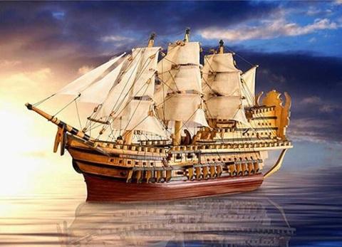 Алмазная Мозаика 40x50 Корабль уходит в дальние плавания (арт. GA74055 )