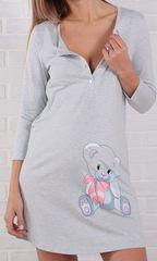 Евромама. Ночная сорочка с мишкой голубой меланж, большие размеры вид 4