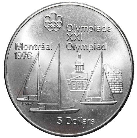 5 долларов 1973. Канада (XXI летние Олимпийские Игры, Монреаль 1976 - Парусный спорт). AU. Серебро